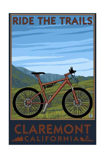 Claremont, California - Mountain Bike Scene-Lantern Press-Art Print