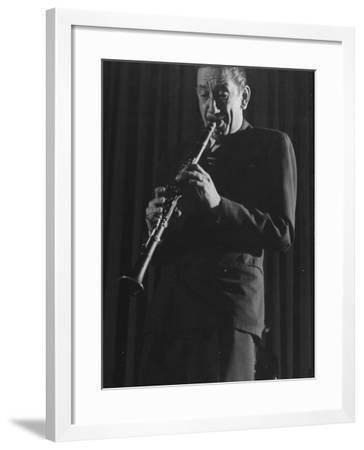Clarinetist Pee Wee Russell During Jazz Concert at Town Hall-Gjon Mili-Framed Premium Photographic Print