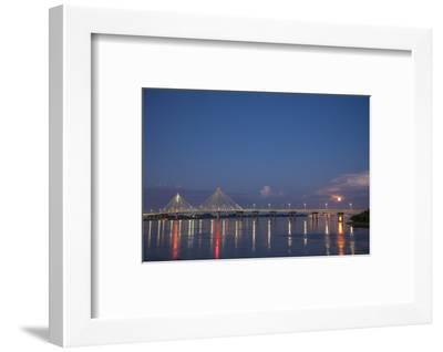 Clark Bridge and full moon, Mississippi River, Alton, Illinois-Richard & Susan Day-Framed Photographic Print