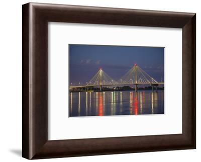 Clark Bridge at night over Mississippi River, Alton, Illinois-Richard & Susan Day-Framed Photographic Print