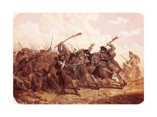 Clash Between Piedmont and Russian Troops, 1855--Giclee Print