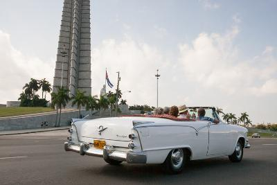 Classic American Car by Jose Marti Memorial, Plaza De La Revolucion, Revolution Square, Havana-Eric Kruszewski-Photographic Print