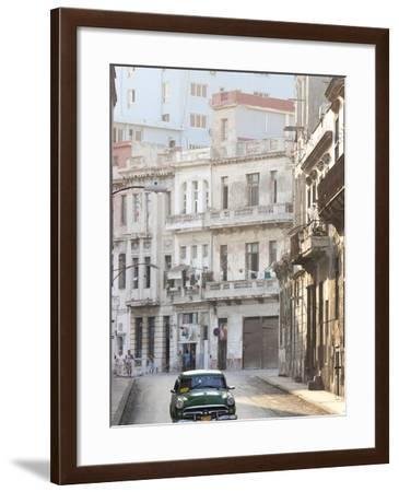 Classic American Car Taxi Driving Down Quiet Street in Havana Centro, Havana, Cuba-Lee Frost-Framed Photographic Print