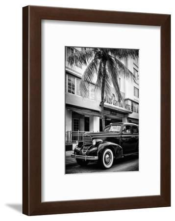 Classic Antique Car of Art Deco District - Park Central Hotel on Ocean Drive - Miami Beach-Philippe Hugonnard-Framed Photographic Print