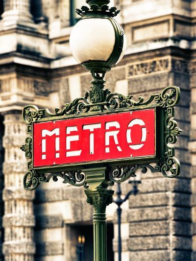 Classic Art, Metro Sign at the Louvre Metro Station, Paris, France-Philippe Hugonnard-Photographic Print