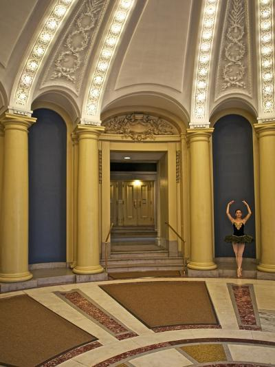 Classic Ballerina Dancing in a Rotunda-Kike Calvo-Premium Photographic Print