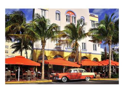 Classic Car in front of the Paparazzi Restaurant, Ocean Drive--Art Print