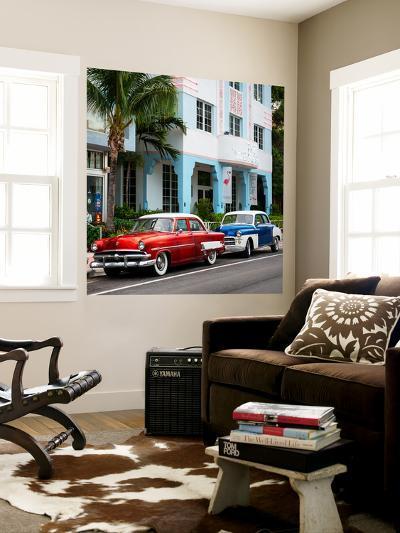 Classic Cars on South Beach - Miami - Florida-Philippe Hugonnard-Wall Mural