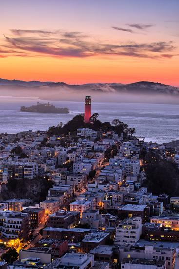 Classic Coit Tower After Sunset, San Francisco, Cityscape, Urban View-Vincent James-Photographic Print