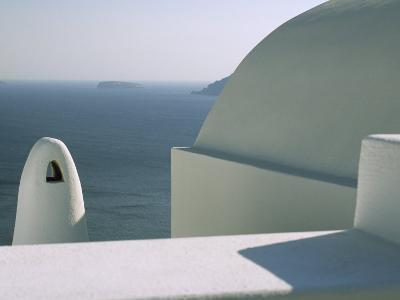 Classic Greek View of Whitewashed Buildings Overlooking the Sea--Photographic Print