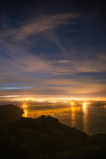 Classic Night View and Stars Over Golden Gate Bridge, San Francisco-Vincent James-Photographic Print