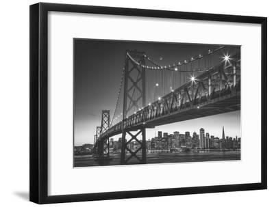 Classic San Francisco in Black and White, Bay Bridge at Night-Vincent James-Framed Photographic Print