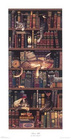 Classic Tails Charles Wysocki Animal Cat Humor Funny Interior Print Poster 10x22