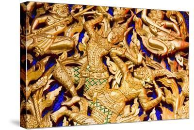 Classic Thai Art on a Temple- BugTiger-Stretched Canvas Print