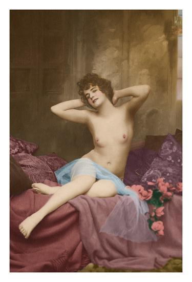 Classic Vintage French Nude - Hand-Colored Tinted Art-NPG - Neue Photographische Gesellschaft-Giclee Print