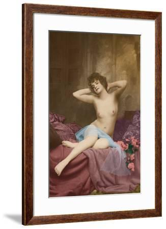 Classic Vintage French Nude - Hand-Colored Tinted Art-NPG - Neue Photographische Gesellschaft-Framed Premium Giclee Print
