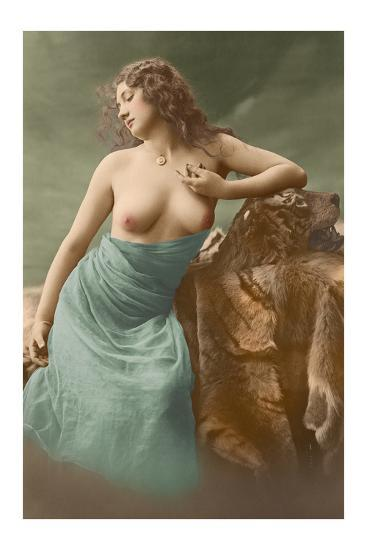 Classic Vintage French Nude - Hand-Colored Tinted Art-Pacifica Island Art-Premium Giclee Print