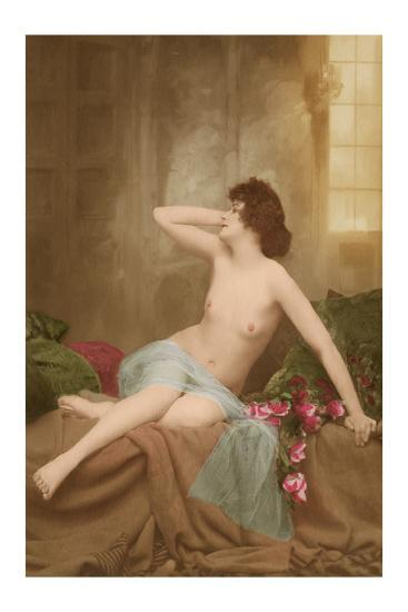 Classic Vintage French Nude - Hand-Colored Tinted Art-NPG Studio-Premium Giclee Print