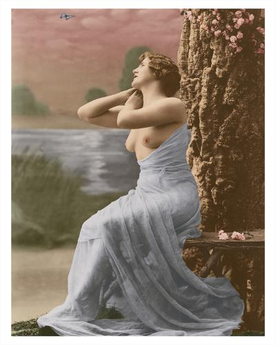 Classic Vintage French Nude - Hand-Colored Tinted Art-Pacifica Island Art-Giclee Print