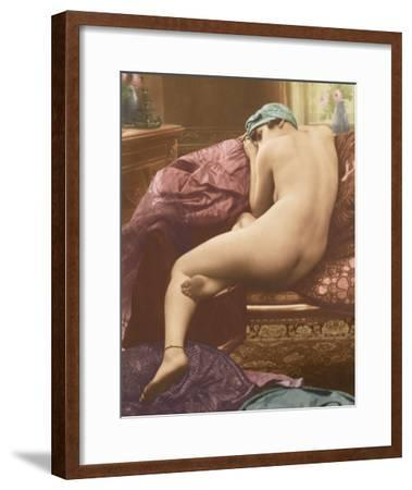 Classic Vintage French Nude - Hand-Colored Tinted Art-SIC Photo Studio-Framed Giclee Print