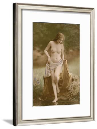 Classic Vintage French Nude - Hand-Colored Tinted Art-NPG Studio-Framed Art Print