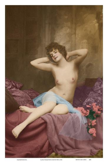 Classic Vintage French Nude - Hand-Colored Tinted Art-NPG - Neue Photographische Gesellschaft-Art Print
