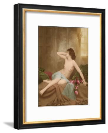 Classic Vintage French Nude - Hand-Colored Tinted Art-NPG Studio-Framed Premium Giclee Print
