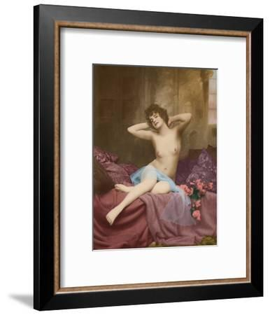 Classic Vintage French Nude - Hand-Colored Tinted Art-NPG - Neue Photographische Gesellschaft-Framed Giclee Print