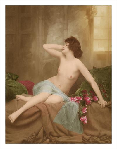 Classic Vintage French Nude - Hand-Colored Tinted Art-NPG Studio-Giclee Print