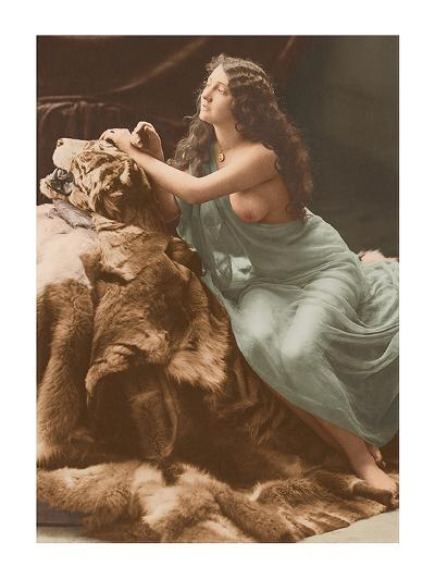 Classic Vintage French Nude - Hand-Colored Tinted Art-Louis-Ame?de?e Mante-Premium Giclee Print