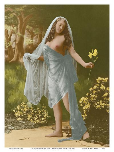 Classic Vintage French Nude - Hand-Colored Tinted Art-Pacifica Island Art-Art Print