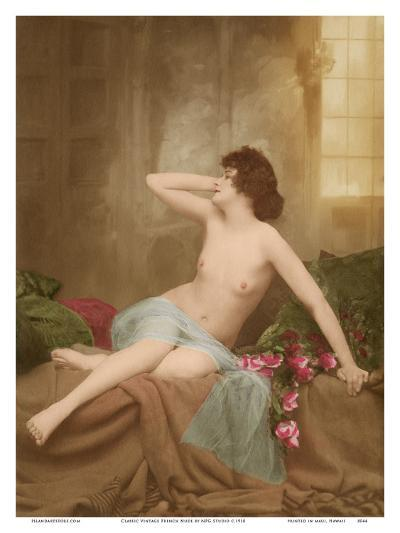Classic Vintage French Nude - Hand-Colored Tinted Art-NPG Studio-Art Print