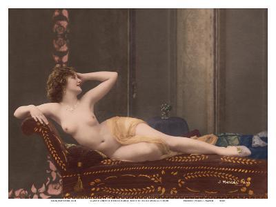 Classic Vintage Hand-Colored Nude - Exotic French Erotic Art-Julian Mandel-Art Print