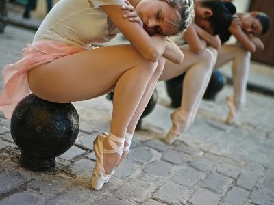 Classical Ballerinas from the Cuba National Ballet at the Malecon-Kike Calvo-Premium Photographic Print