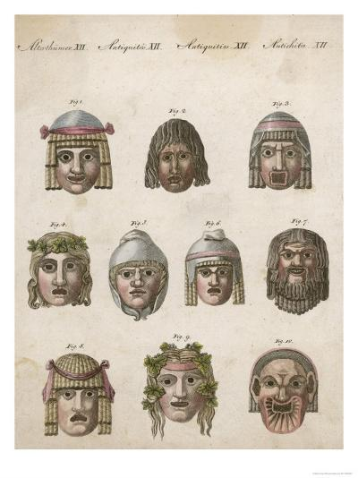 Classical Greek Actors' Masks Depicting Various Expressions and Emotions--Giclee Print