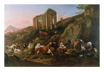 Classical Landscape with Animals-Johann Heinrich Roos-Giclee Print
