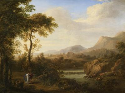 Classical River Landscape with Cattle and Figures-Gaetano Tambroni-Art Print