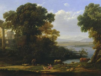 Classical River Scene with a View of a Town-Claude Lorraine-Giclee Print