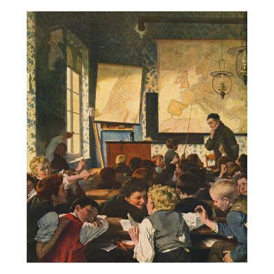Classroom During Geography Lessons-Carl Hertel-Giclee Print