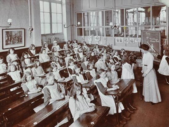 Classroom scene, Albion Street Girls School, Rotherhithe, London, 1908-Unknown-Photographic Print