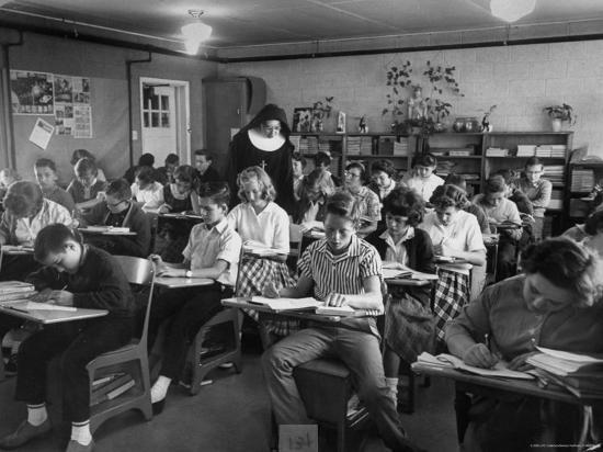 Classroom Scene at School For St. Teresa Church in New Building-Bernard Hoffman-Photographic Print