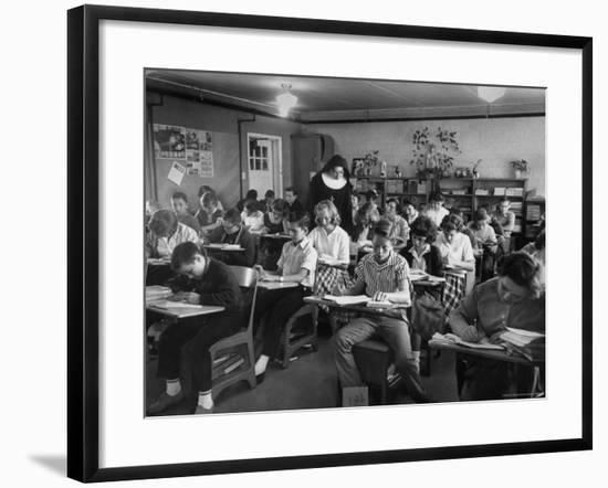 Classroom Scene at School For St. Teresa Church in New Building-Bernard Hoffman-Framed Photographic Print
