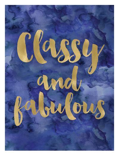 Classy Fabulous Gold Blue Watecolor-Amy Brinkman-Art Print