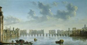 View of Old London Bridge from the West by Claude de Jongh