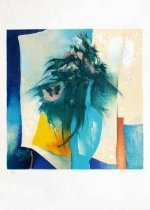 S - Bouquet Au Vase Bleu by Claude Gaveau