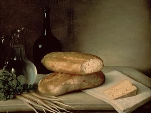 Still Life with Bread, Cheese and a Flagon of Wine by Claude Joseph Fraichot