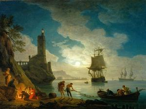 A Harbor in Moonlight, 1787 by Claude Joseph Vernet