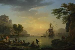 A Landscape at Sunset with Fishermen Returning with their Catch, 1773 by Claude Joseph Vernet