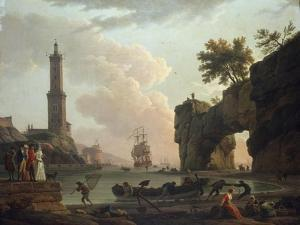 A Mediterranean Coastal Landscape at Sunset by Claude Joseph Vernet