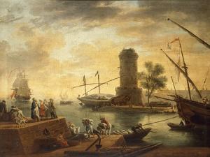 A Mediterranean Harbour Scene at Sunset by Claude Joseph Vernet